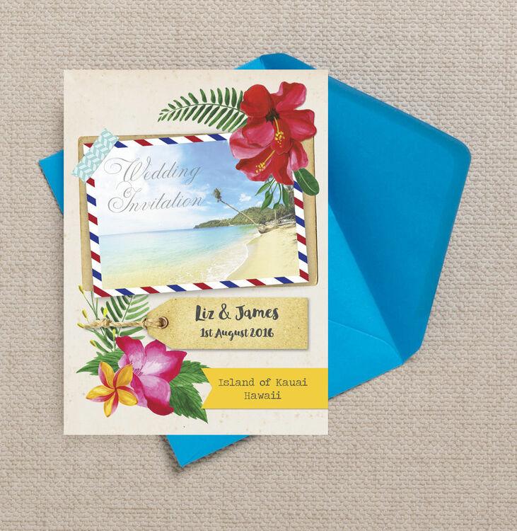 Tropical beach flowers postcard wedding invitation from 1 for Tropical wedding invitations