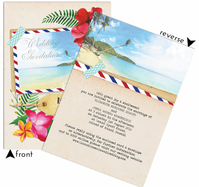 Tropical Beach Flowers Postcard Wedding Invitation From GBP100 Each