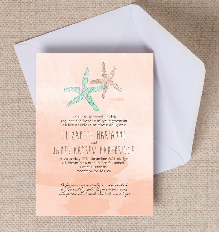 starfish wedding invites uk - 28 images - tropical watercolour ...