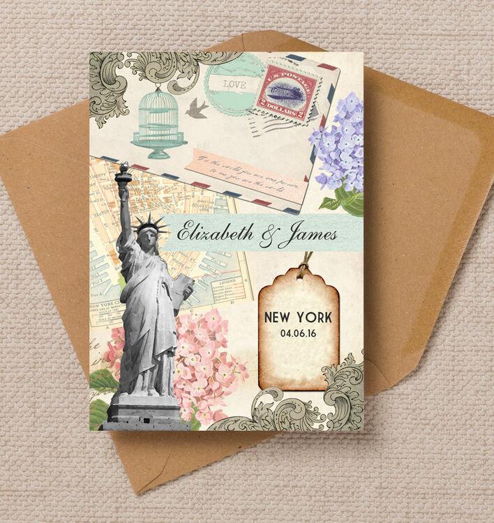 Post Card Wedding Invitations: Vintage New York Postcard Wedding Invitation From £1.00 Each