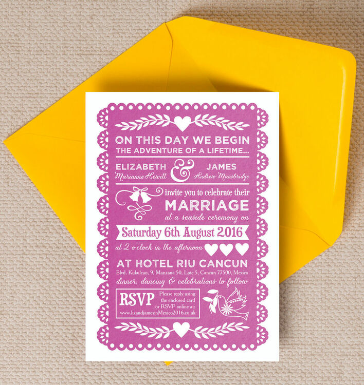 Mexican Inspired Papel Picado Wedding Invitation 12 00 From 1 00 Inform Guests Of The All Important Details Of Your Fabu