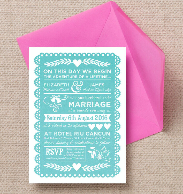 mexican inspired papel picado wedding invitation from  u00a31