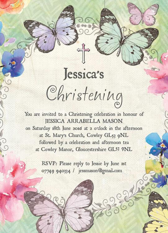 Butterfly Garden Christening Baptism Invitation From 163 0