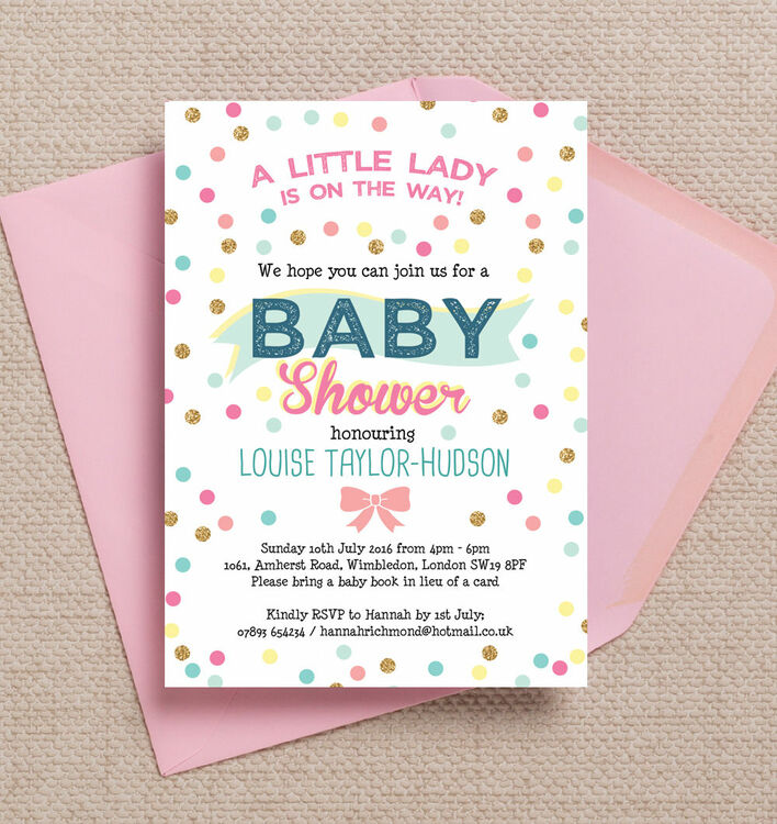 In Lieu Of A Card Bring A Book Baby Shower Part - 38: Pastel Confetti Baby Shower Invitation Additional 1 ...