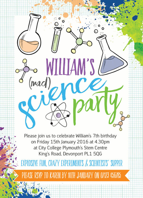 mad science party invitation from £. each, Party invitations