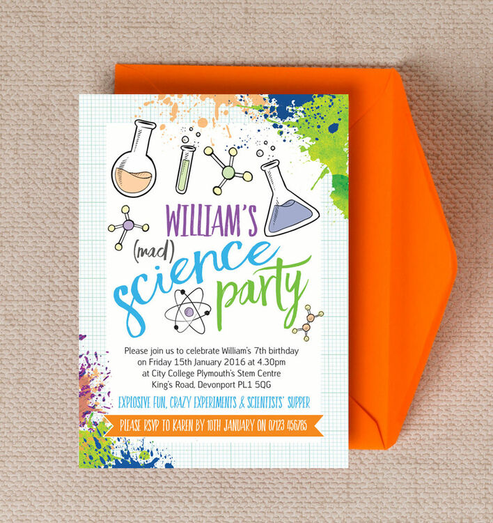mad science party invitation from £0.80 each, Party invitations