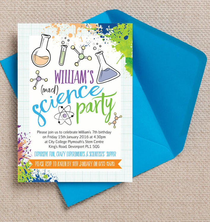 Mad Science Kids Party Invites Stationery – Mad Scientist Birthday Party Invitations
