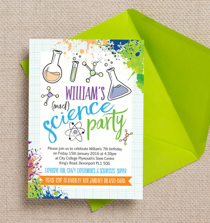 mad science party invitation from  u00a30 80 each