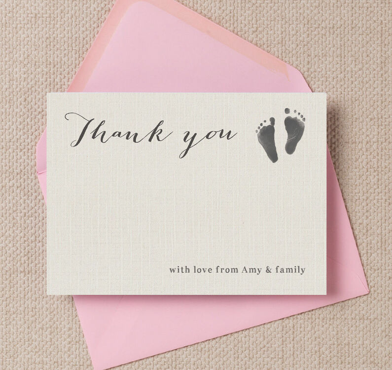 Rustic Calligraphy Personalised Baby Thank You Cards From