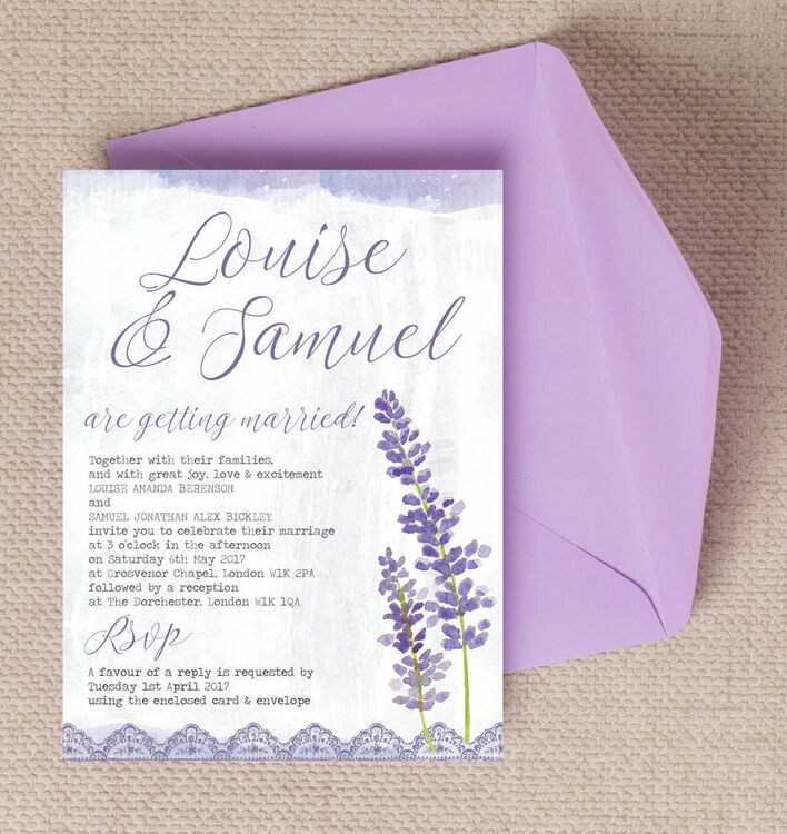 lilac lavender wedding invitation from gbp100 each With lavender colour wedding invitations