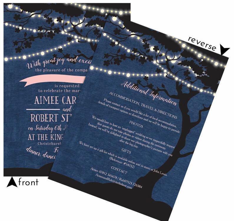 Enchanted Fairy Lights Wedding Invitation From GBP100 Each
