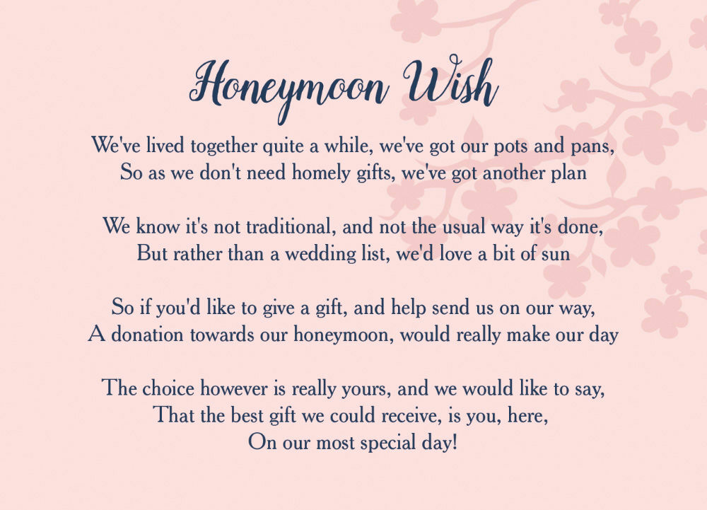 Extra Information For Wedding Invitations: Navy & Pink Honeymoon Wish Poem Card From £0.40 Each