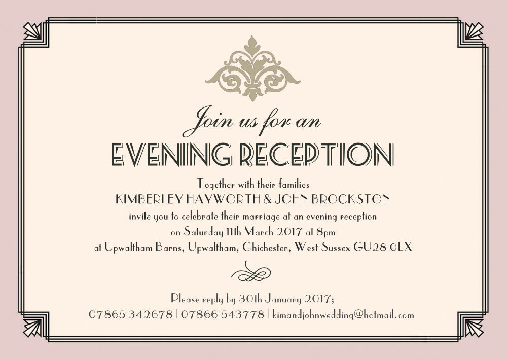 Pastel Art Deco Evening Reception Invitation From GBP085 Each
