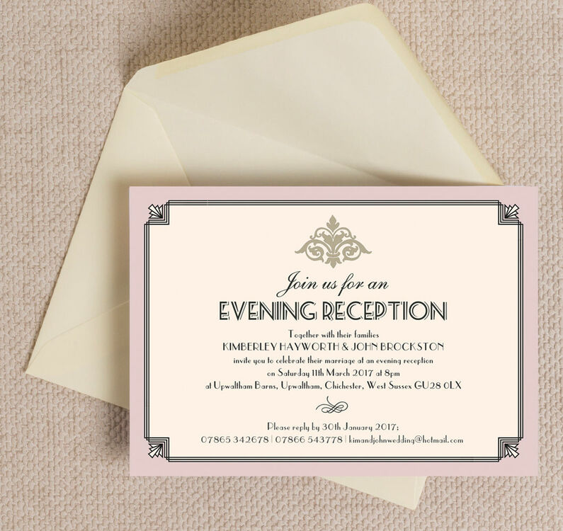 Pastel Art Deco Evening Reception Invitation from £0.85 each