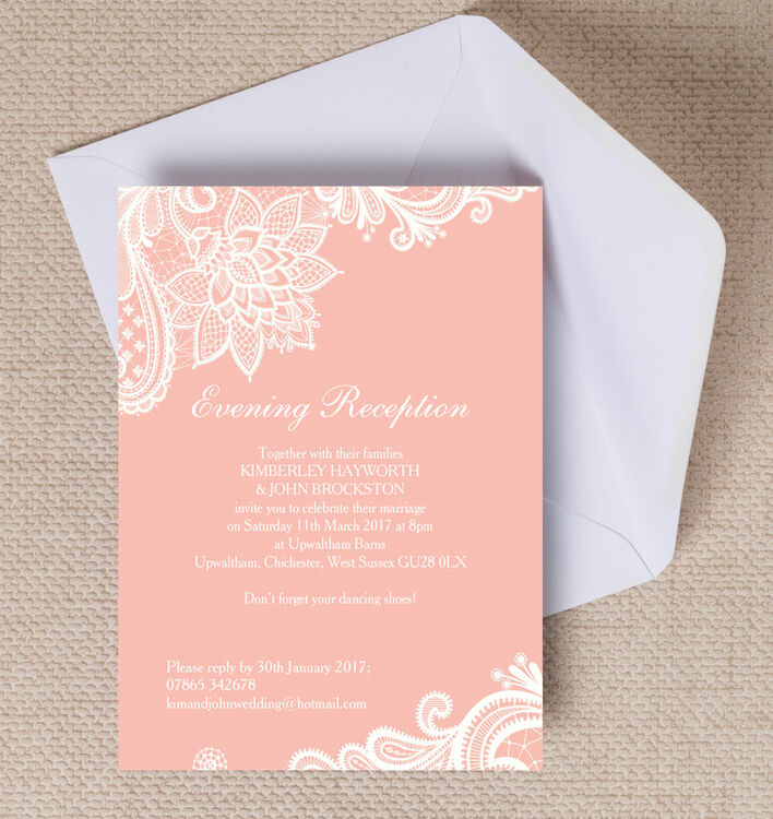 Romantic Lace Evening Reception Invitation From £0.85 Each