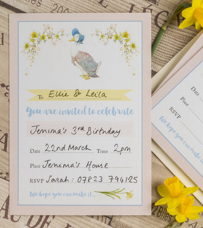 Pack of 10 Beatrix Potter Jemima PuddleDuck Invitations from – Beatrix Potter Birthday Invitations