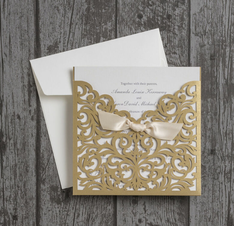 champagne gold laser cut personalised wedding invitation from, Wedding invitations