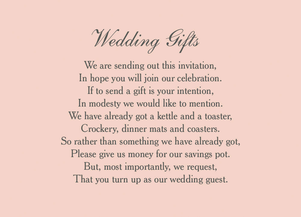 Sample Wedding Gift List : Wedding Gift Registry Cards Wording Gifts