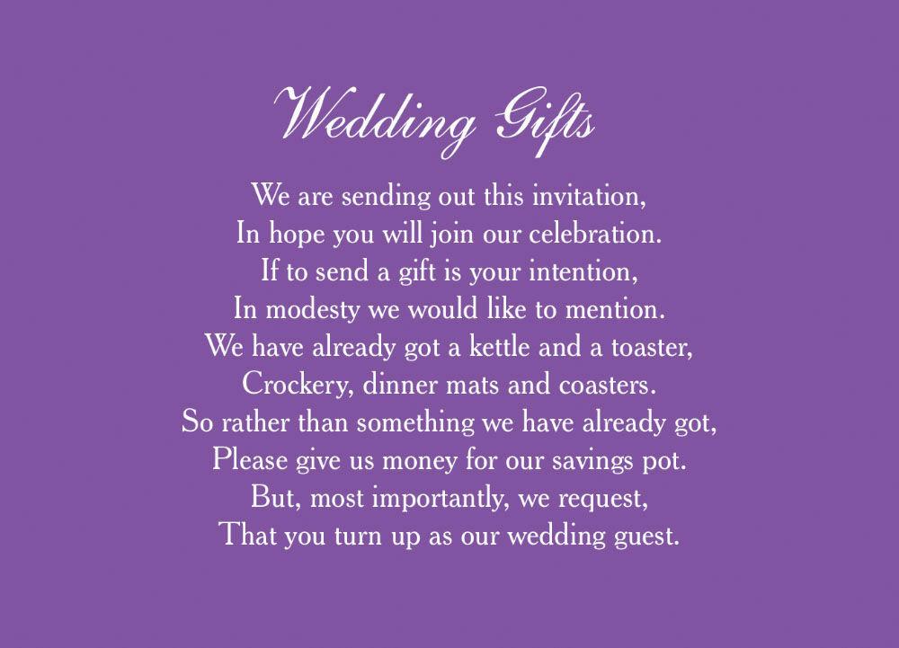 Wedding Gift List Poem