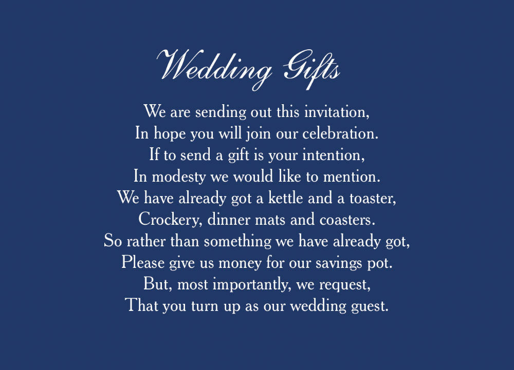 Wedding Gift Wish Poem : Home Wedding Pre Wedding Gift Poem Cards Classic Wedding Gift Wish ...