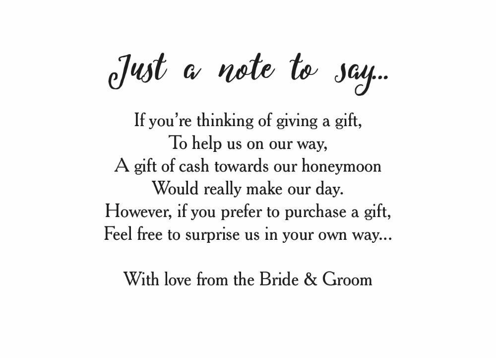 Wedding Gift List Wording Charity : Home Wedding Pre Wedding Gift Poem Cards Calligraphy Wedding Gift Wish ...