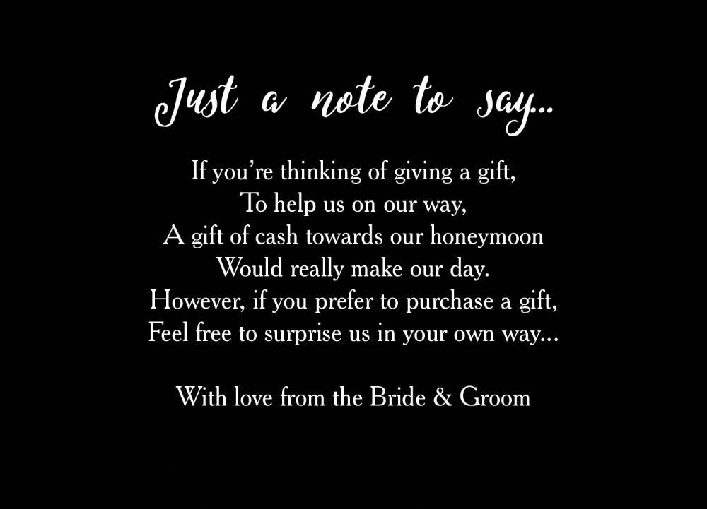 No Gifts Wedding: Calligraphy Wedding Gift Wish Card From £0.40 Each