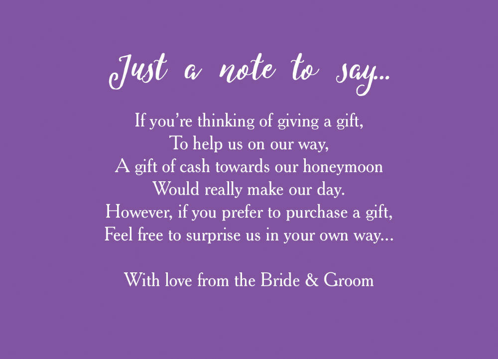 Asking For Money As A Wedding Gift Ideas : Home Wedding Pre Wedding Gift Poem Cards Calligraphy Wedding Gift Wish ...