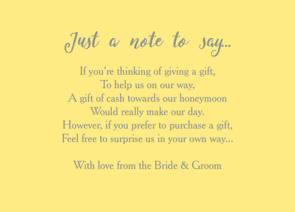 Calligraphy wedding gift wish card from each for What to ask for wedding registry