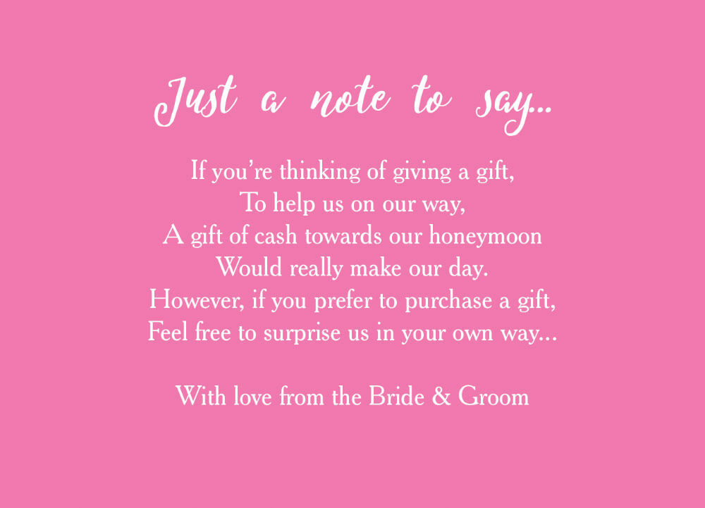 Cash Wedding Gift Poem Gift Ideas