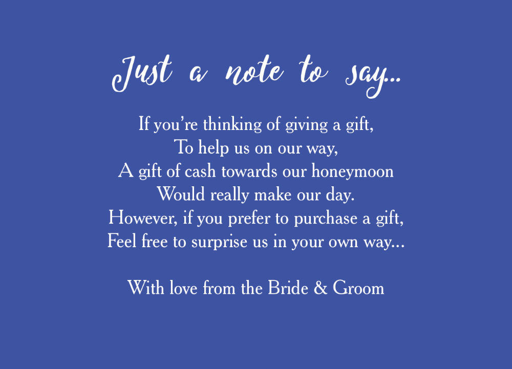 Calligraphy Wedding Gift Wish Card From GBP040 Each