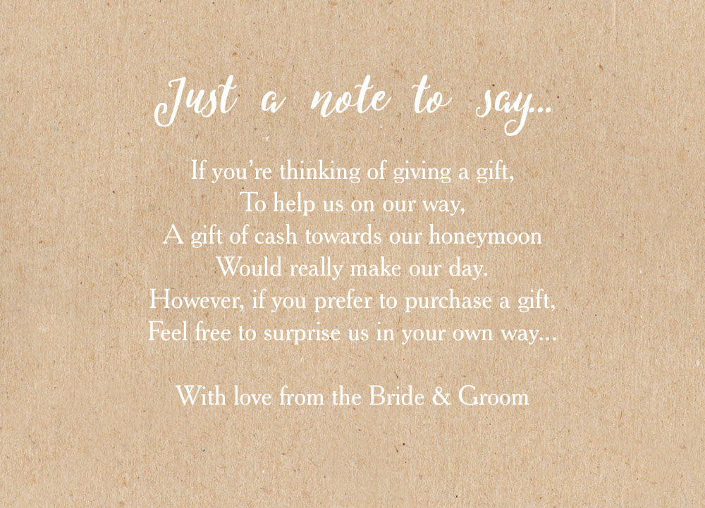 Wedding Invitation Wording For Monetary Gifts: Calligraphy Wedding Gift Wish Card From £0.40 Each