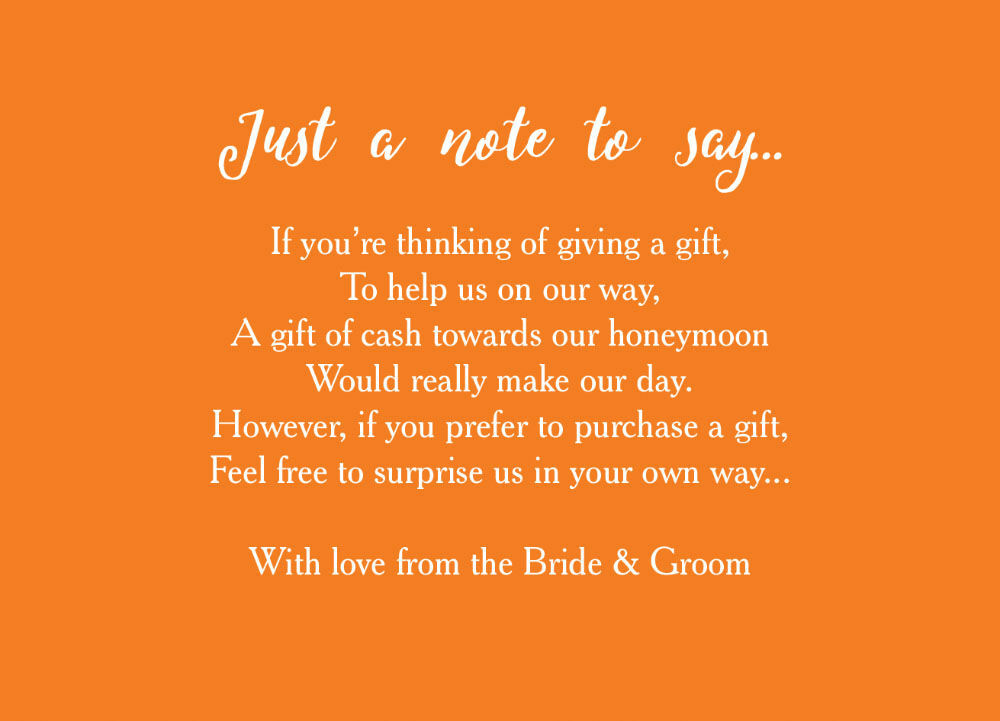 Ways To Save Money On Wedding Invitations: Calligraphy Wedding Gift Wish Card From £0.40 Each
