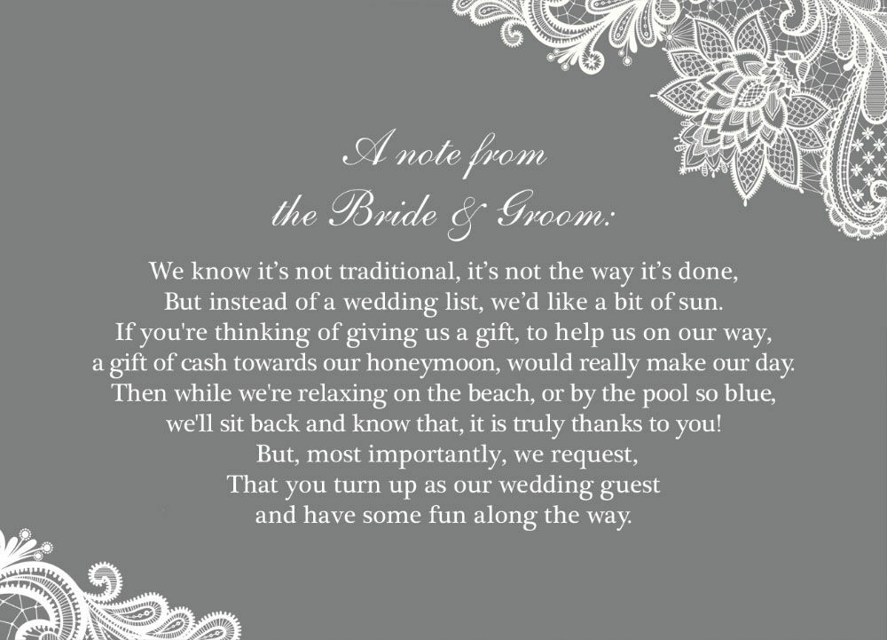 Wedding Gift List Wording Charity : Home Wedding Pre Wedding Gift Poem Cards Lace Wedding Gift Wish Card