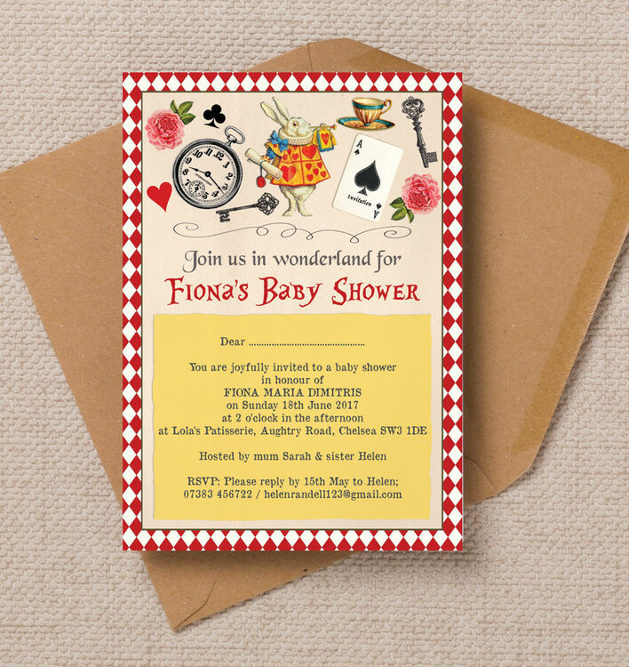 invitations baby shower invitations alice in wonderland baby shower