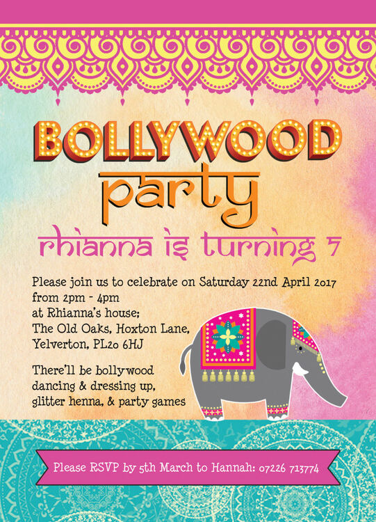 Bollywood Children's Party Invitation from £0.80 each