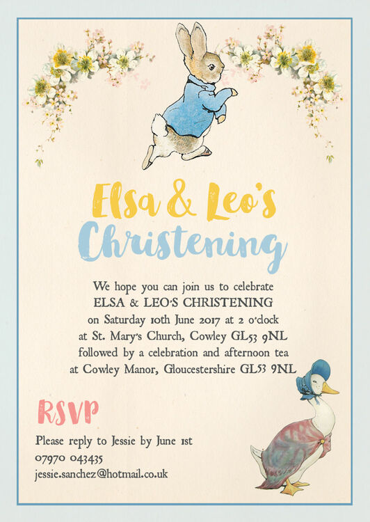 Peter Rabbit & Jemima Puddle Duck Christening / Baptism ...