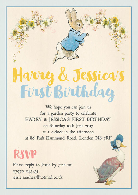Peter Rabbit Birthday Invitations gangcraftnet – Beatrix Potter Birthday Invitations