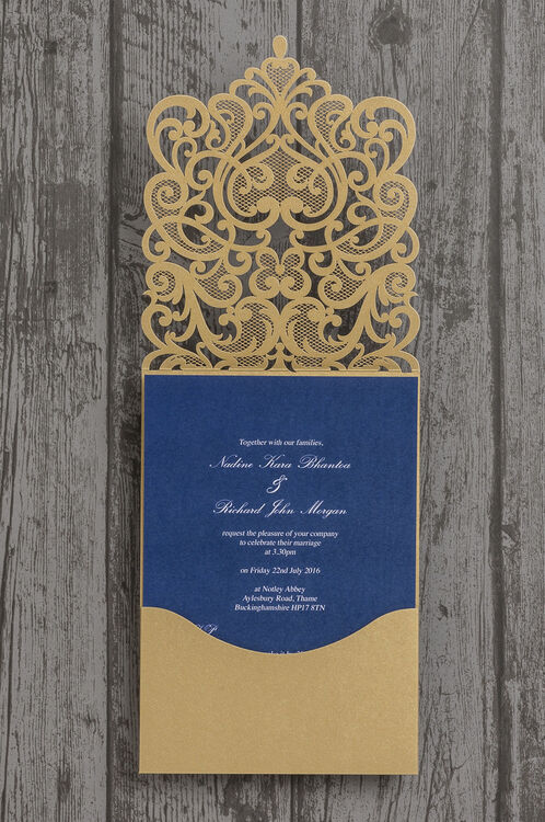 gold diamante laser cut pocketfold personalised wedding With blue laser cut wedding invitations uk