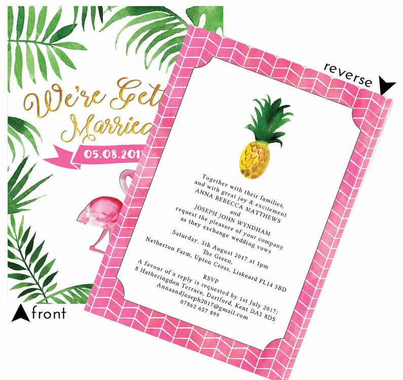 Tropical Wedding Invitations: Flamingo Fiesta Tropical Wedding Invitation From £1.00 Each