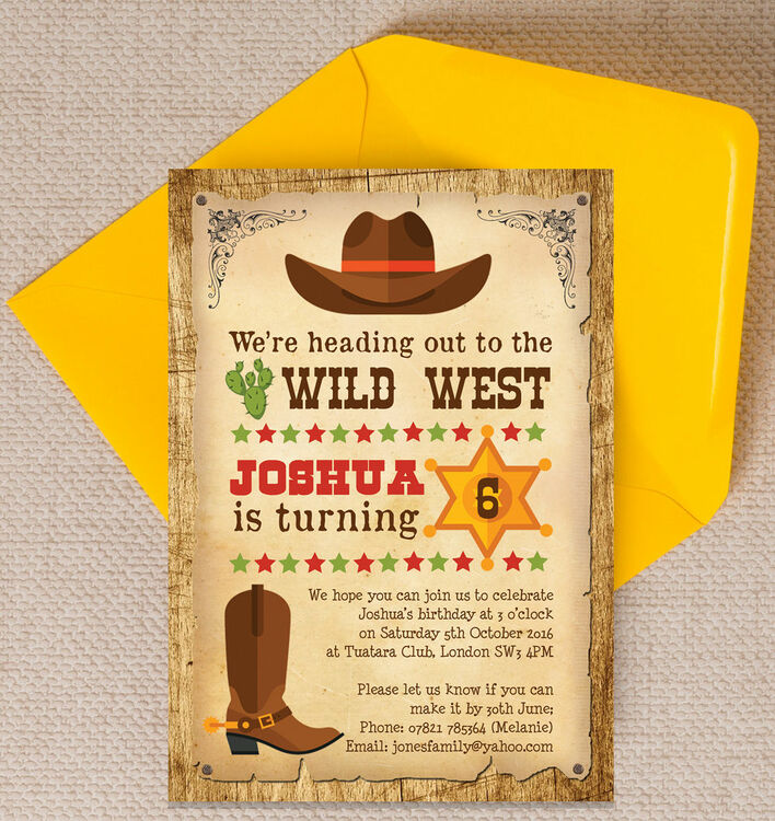 Cowboy Wild West Birthday Party Invitation from £0.80 each