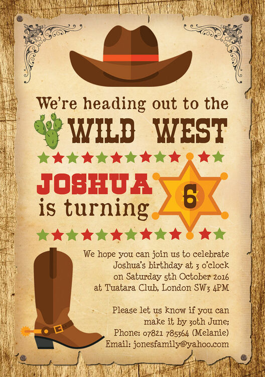 Cowboy Wild West Birthday Party Invitation From 163 0 80 Each