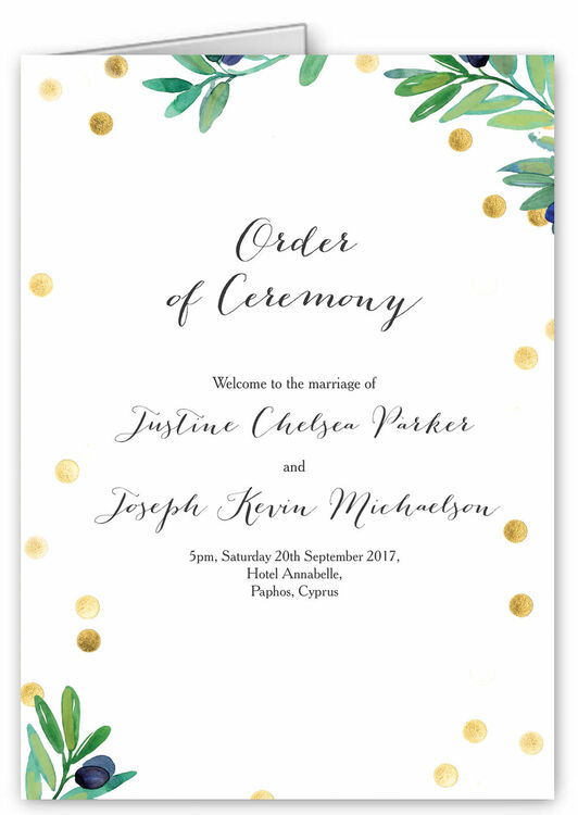 Olive Wreath Order Of Service Cover Additional 1