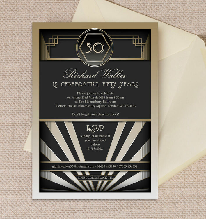 Black & Gold Art Deco 50th Birthday Party Invitation from £1.25 each