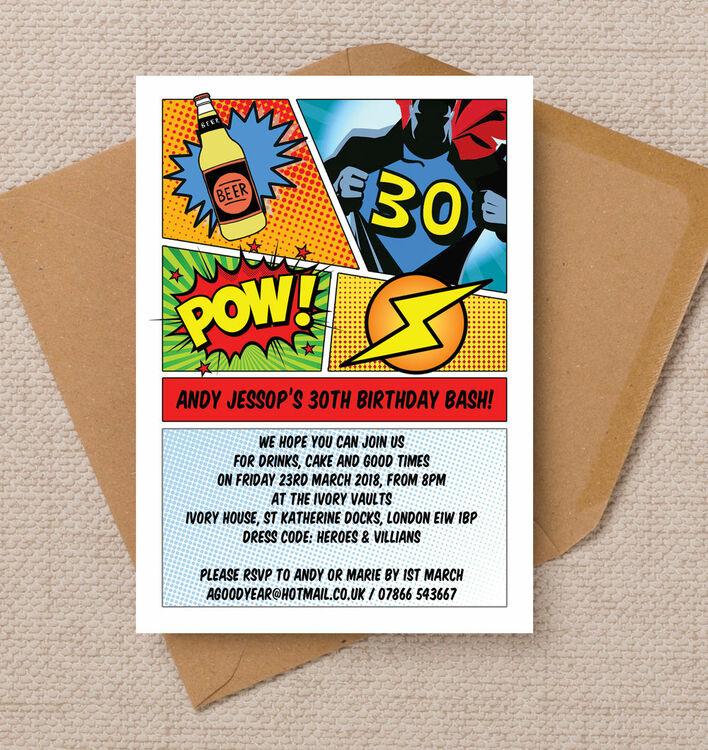 Comic Book Inspired Superhero 30th Birthday Party Invitation