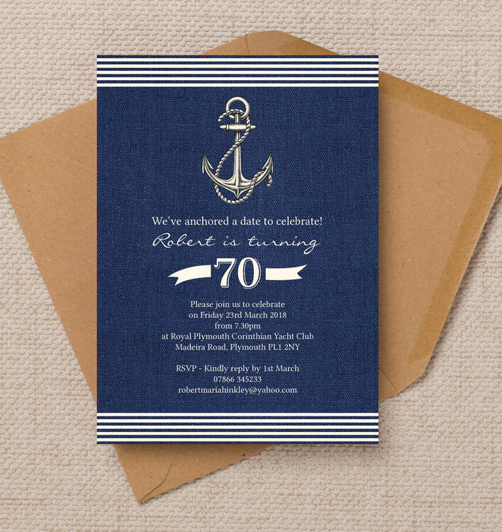 Nautical / Sailing Themed 70th Birthday Party Invitation from ...
