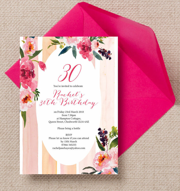 painted peonies floral 30th birthday party invitation from