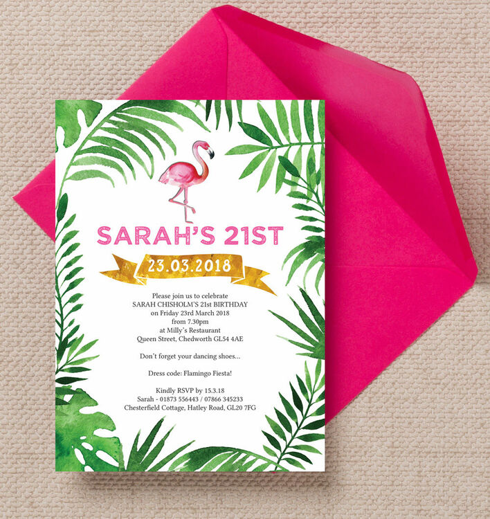 Pink Flamingo Tropical Themed 21st Birthday Party Invitation from ...