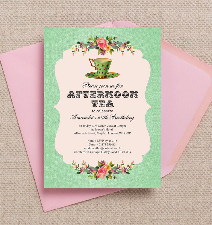 Vintage Afternoon Tea Themed Th Birthday Party Invitation From - 40th birthday invitation uk