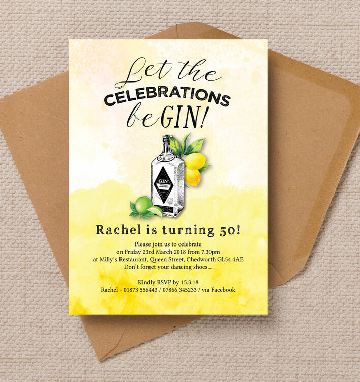 Gin & Tonic Themed 50th Birthday Party Invitation from £1.25 each