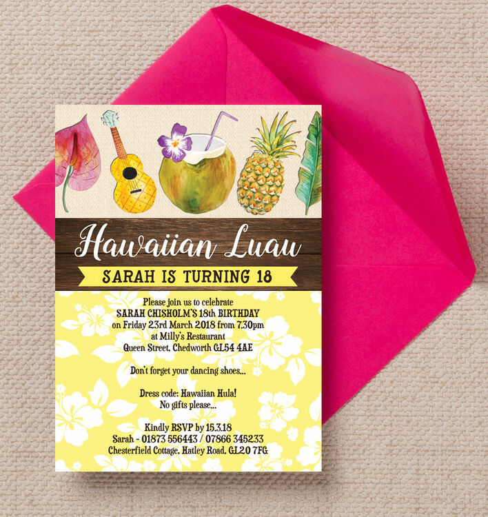 hawaiian luau tropical themed 18th birthday party invitation - 18th Birthday Party Invitations